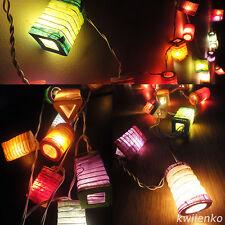 20 Mix Design Multi Colour Thai Paper Lantern Fairy String Lights Patio Party