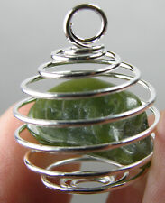 Canada BC 100% Natural Tumbled Rough Jade Crystal In Spiral Cage Pendant