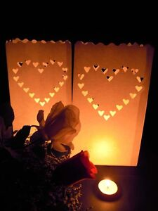 20 Large Heart Wedding Outdoor Path Tealight Candle White Paper Bag Lantern Lum