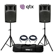"QTX QX12A 12"" Active Powered DJ Disco PA Speakers with Tripod Stands and Cables"