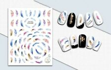 Nail Art 3D Decal Stickers Feathers Multicolored CA013