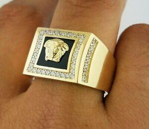 Mens 14K Gold Ring Square Black Onyx Medusa Medallion Diamond 9.7 grams