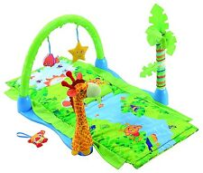 ASHLEY BABY RAIN FOREST FIRST COMFORTABLE PLAY MAT & GYM DETATCHABLE SOFT TOY