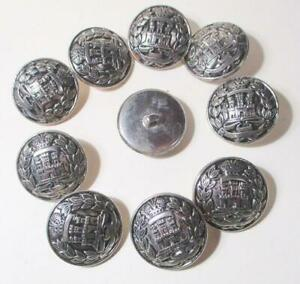 Lot of 10 Vintage Heraldry Castle Silver Buttons