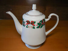 Royal Majestic HOLIDAY CHEER Coffee Pot w Lid 5 cup 6 5/8 Bells Acorns Holly