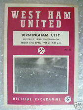 1964 WEST HAM UNITED v BIRMINGHAM CITY, 17th April (League Division One)