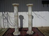 SET PAIR VINTAGE MARBLE LIGHTED FINE ART LAMP DISPLAY COLUMNS HUGE HEAVY.