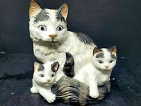 Homco Mother Cat With Kittens Porcelain Vintage Figurine Black / White Cats