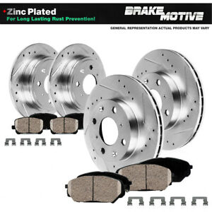 For 2007 2008 Mini Cooper Front+Rear Drill Slot Brake Rotors & Ceramic Pads