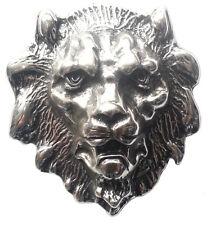 Gürtelschnalle Löwenkopf silber