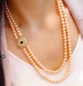gorgeous 9-10mm south sea round gold pearl necklace 22inch 24""