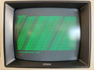 Green  Monochrome  Computer  Monitor  1983(approx)   Epson  QX-10 & Cable