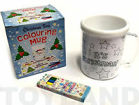 CHRISTMAS COLOUR YOUR OWN MUG + PENCILS DRINKING CUP KIDS TOY STOCKING FILLER