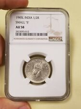 1945 L India 1/2 Rupee NGC AU58 Small 5 Low Population Rare British Indian WW2