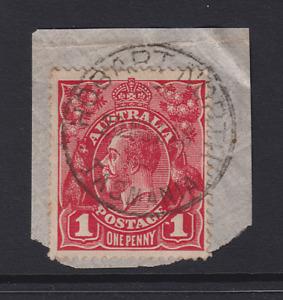 AUSTRALIA 1914: 1d red KGV variety DOT BEFORE 1 BW 71(3)m cv $30 · HOBART N. cds