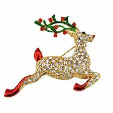 Damen Herren Elch Strass Brosche Weihnacht Brooch XMAS Geschenk Neu