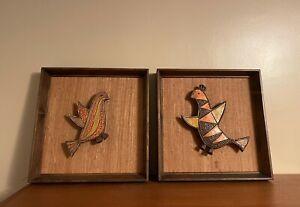 Pair Of Mid Century Ceramic Bird Wall Hangings -  Raul Coronel Style