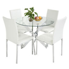 Clear Glass Round Dining Table And 4 Faux Leather Dining Chairs Set Chrome  Legs