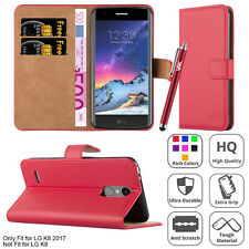 Wallet Flip Book Premium Leather Card Case Cover For LG K8 2017