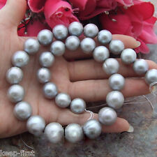Wholesale 9-10mm Natural Gray Freshwater Pearl Loose Beads 15'' AAA DIY
