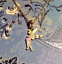Tinkerbell Rhinestone Silver Charm Chain Necklace**~$1 Ship