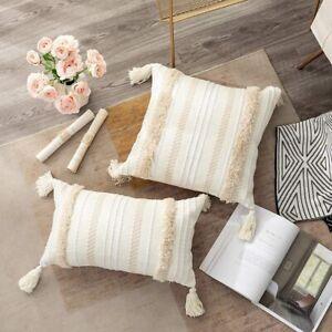 Throw Pillow Case Cover Cushion Tufted Tassel Woven Decor Pillowcase