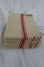 More details for 6 french vintage linen tea towels / torchons - red stripes - monogramme la