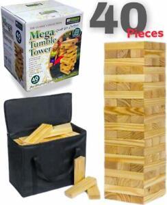 Mega Jenga Tumble Tower Giant Large Wooden Blocks Family Fun Garden Game in Bag