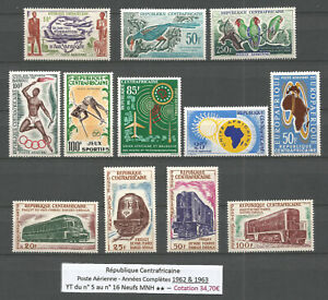 Central African Republic 1962-1963 - Air Mail - Complet Years - YT 34,70€ MNH **