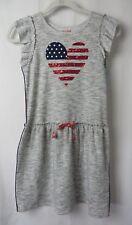 Cat & Jack Patriotic Dress Gray w Sequin Heart Stars Stripes Size 14/16 #6959
