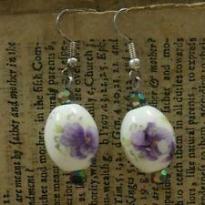 Fashion Jewellery Earrings Drop Dangle Ceramic Beads Purple Flowers