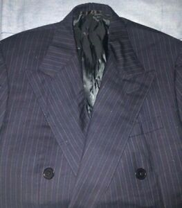 Vintage Ralph Lauren Purple Label Navy Blue Pin Striped Double-Breasted Suit