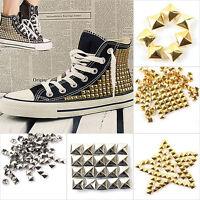 New 100Pcs Square Pyramid Rivet Metal Studs Spots Spikes Punk DIY Leathercraft