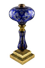19th Century Boston Sandwich Blue Cut to Clear Overlay Glass Banquet Lamp