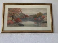 More details for early 20thc japanese school forest landscape signed framed watercolour painting