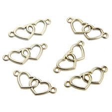 10X Gold/Silver Color Double Love Heart Connector Charm Pendant Fit DIY Bracelet