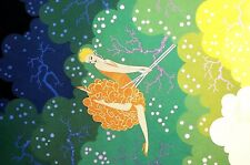 Erte 1987 THE SWING Lady in ORANGE Dress Swinging from Tree Deco Matted Print