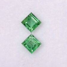 Natural Emerald Square Cut Pair 3 mm 0.40 CTS Lustrous Green Loose Gemstones