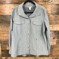 Duluth Women Blue Stripe Snap Front Vented Back Long Sleeve Shirt Jacket Shacket