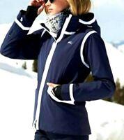 New $1100 KJUS Sapphire Blue Hooded Ski Parka Jacket Coat US 4 6 / Small / EU 36