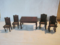 Antique vintage miniature dollhouse German redwood table and chairs 1:12 scale
