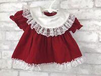 Vintage Red White Velvet Lace Apron Back Christmas Dress Hugs and Kisses Size 9M