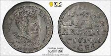 Poland Riga Sigismund III Vasa 3 groschen 1595 about uncirculated PCGS AU58