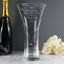 Personalised Hearts Diamante Glass Vase Wedding Anniversary Mothers Day Birthday