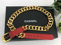 """Chanel Authentic Vintage 90s Chunky Gold Chain Belt Red Leather 34"""" US XS/S"""