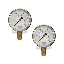 "2 PACK LIQUID FILLED PRESSURE GAUGE 0-100 PSI, 2.5"" FACE, 1/4"" NPT LOWER MOUNT"