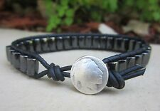Handcrafted Gift Men's Magnetic Sports Surf Black Leather Bracelet Indian Button