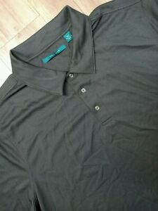 Perry Ellis Polo Shirt Adult 2XLT Black Pima Cotton Blend Rugby Casual Mens NWT