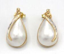 Pendientes perla mabe de oro amarillo