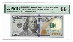 2017A $100 NEW YORK FRN, PMG GEM UNCIRCULATED 66 EPQ BANKNOTE, 2nd of 2